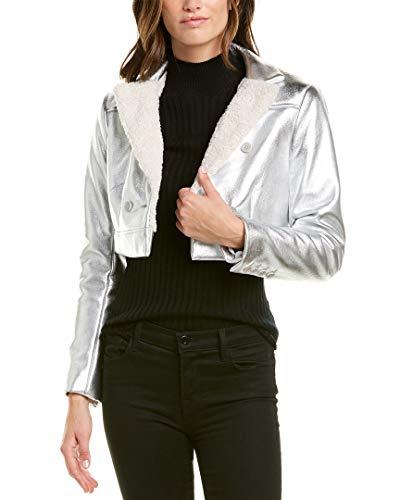 BCBGMAXAZRIA BCBG Womens Maxazria Metallic Woven Jacket, XXS, Grey