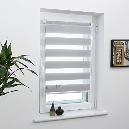 Grandekor Doppelrollo Klemmfix, Duo Rollos für Fenster und Tür ohne Bohren mit Klämmträger, Fensterrollo lichtdurchlässig & verdunkelnd - Hellgrau 70x210cm (Stoffbreite 66cm)