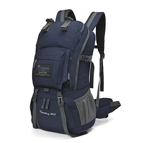 MOUNTAINTOP 40 litros Mochila de Senderismo, Impermeable Mochila Trekking al Aire Libre Mochilas de Montaña Viajes Acampadas con Cubierta de Lluvia (Azul 1)