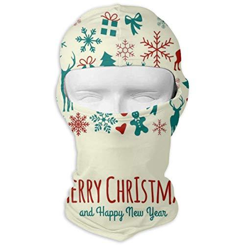 Cavdwa Merry Christmas Einladungskarte Vollgesichtsmaske Kapuze Sonnenschutzmaske Radfahren Jagd Wandern Skifahren Maske Doppelschicht-Kalt für Männer und Frauen