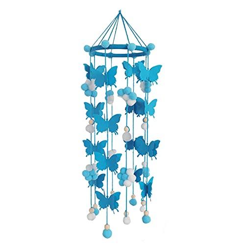 GeKLok Baby Crib Mobile Cute Butterfly Felt Ball Móvil Techo Móvil Decoración colgante para la decoración de la habitación del cuarto del bebé (Azul)
