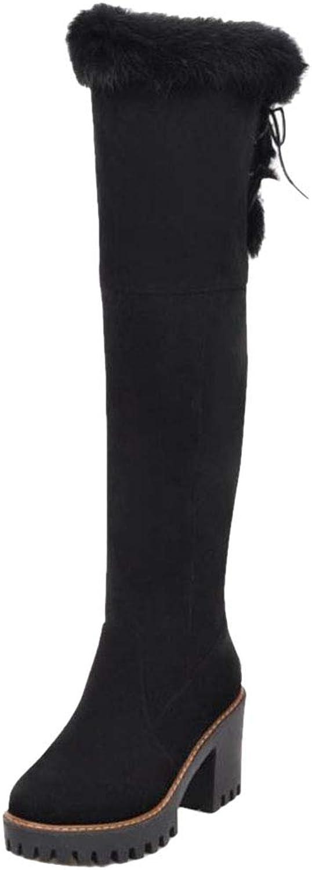 MisaKinsa Women Platform Block Heels Knee Boots Half Zip