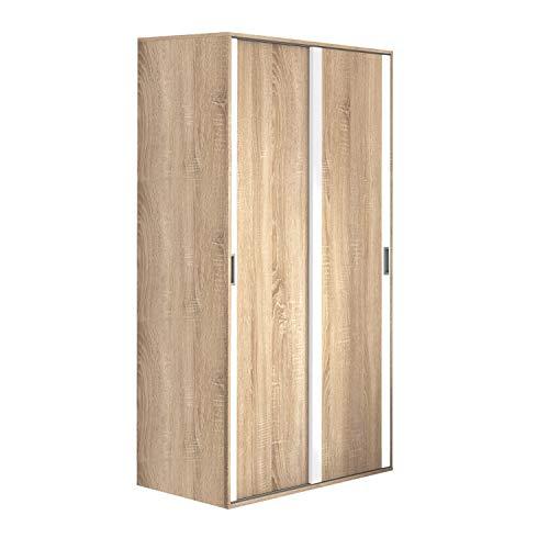 Armario Dos Puertas correderas Dormitorio habitación, Acabado en Color Blanco y Cambria, Modelo Lara, Medidas: 120 cm (Largo) x 207 cm (Alto) x 55 cm (Fondo)