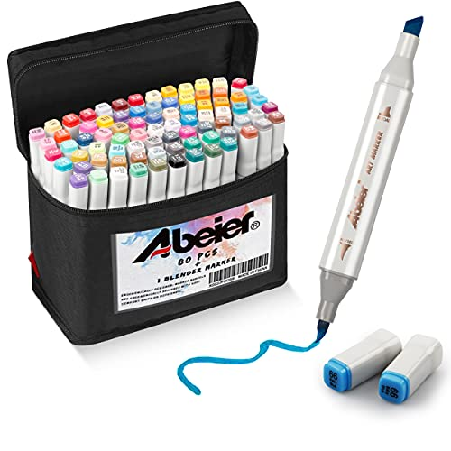 81 Colors Alcohol Brush Markers, Abeier Brush & Chisel Dual Tip Sketch Markers for Artists, Plus 1 Blender Marker, Permanent Sketch Markers for Kids, Adults Coloring and Artist Illustration