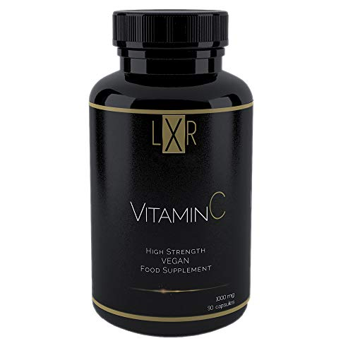 LXR 1000mg Vitamin C, Ascorbic Acid for Adults - 90 Vegan Capsule Supplements - High Strength Vitamins for Fast Absorption, Powerful Antioxidant & Immune Booster - Made in The UK