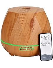 Queta 550 ml aromatherapie-diffuser, ultrasone luchtbevochtiger met grote capaciteit, huishoudelijke luchtreiniger, stille en stille aromadiffuser voor thuis en op kantoor
