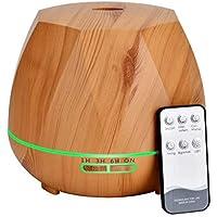 550ML Humidificador Ultrasónico con Mando a Distancia, Difusor de Aceites Esenciales Aromaterapia, 7-Color LED, 4 Temporizador, Apagado Automático y Ultra Silencioso para Bebé Oficina Dormitorio Hogar