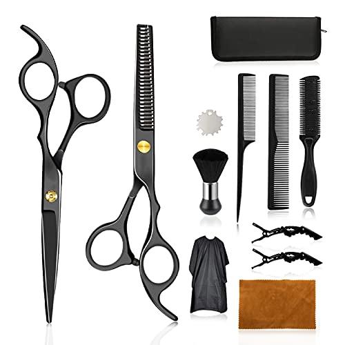 Wrei tijeras de peluquería, Conjunto Tijeras Peluquelo Profesional para el cabello, tijeras de peluquería con capa de barbero y peine de maquinilla de afeitar, set corte de pelo profesional (B-Negra)