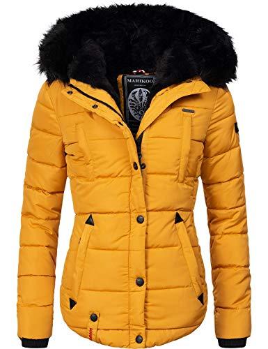 Marikoo Damen Winter Jacke Steppjacke Lotusblüte (vegan hergestellt) Gelb Gr. M