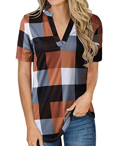 YOINS T-Shirt Femme Été Chic Chemisier Carreaux Manches Courtes Tshirt Sport Col V Blouse Courte Multicolore Court-Orange L