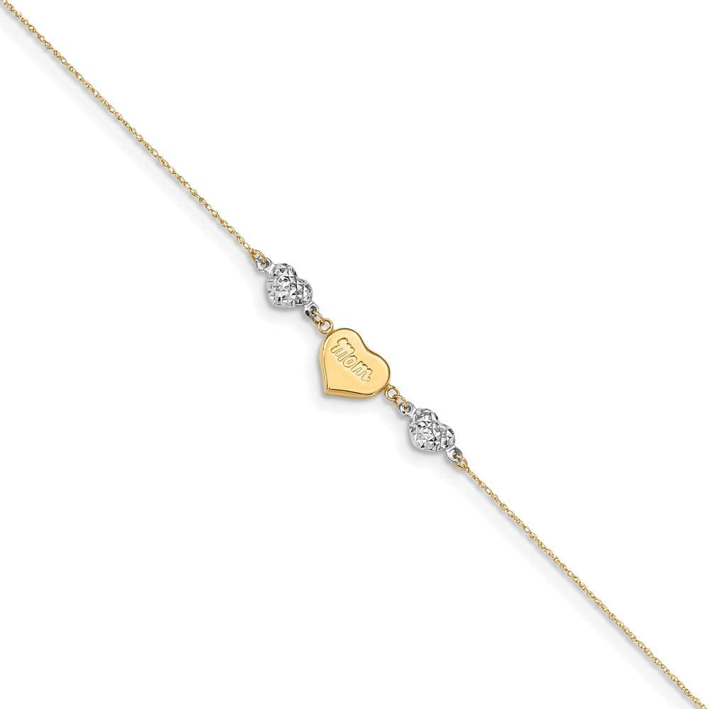 14K Two-tone D/C Puffed Hearts MOM 9in Plus 1in Ext Anklet 9in style ANK254-9