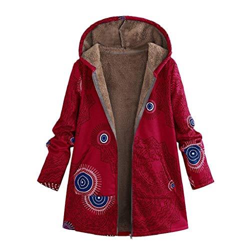 Abrigos Mujer Invierno Rebajas SHOBDW Moda Informal Más Gruesa Slim Abajo Chaqueta Abrigo Mujer Largos Lana Grueso Calentar Impresión Retro Abrigo Parker Mujer con Capucha(Rojo,XL)