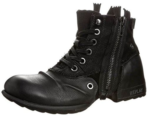 Replay Clutch Black Mens Side Zip Mid Ankle Leather Army Boots Shoes-10
