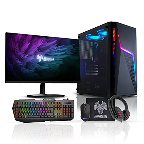 ADMI Gaming PC Package: AMD Ryzen 4300G Quad Core Vega Graphics, 1TB HDD, 8GB DDR4, Volt RGB Case, 300mbps WiFi, Windows 10, RGB Keyboard/Mouse/Mouse Mat/Headset & 24' LED 1080P Monitor
