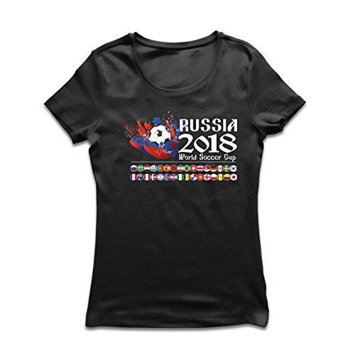 lepni.me Camiseta Mujer Copa Mundial de Rusia 2018, Las 32 Banderas Nacionales del Equipo de fútbol (Large Negro Multicolor)