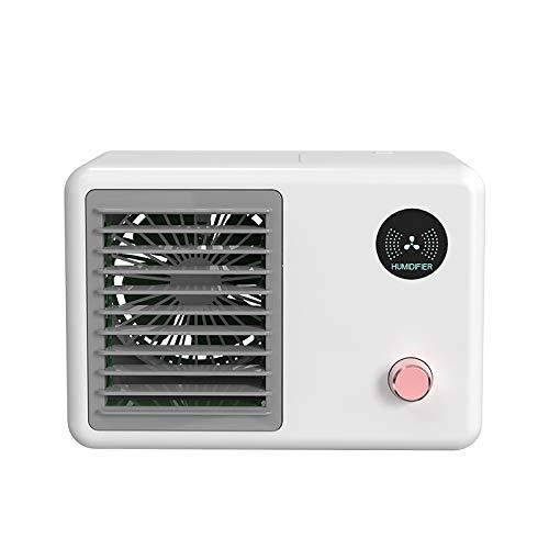 Enfriador de aire personal, ventilador de aire acondicionado inalámbrico, 3 velocidades de ventilador, 2000 mAh USB aire acondicionado móvil con 7 colores de luz nocturna para oficina en casa