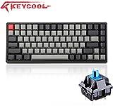 Keycool K84 Side-Engraved Keys, Bluetooth and Wired Dual Modes Mechanical Keyboard Mini Gaming 84 Keys Tenkeyless Keyboard, PBT keycaps (BrownSW-Side, Black&Grey)