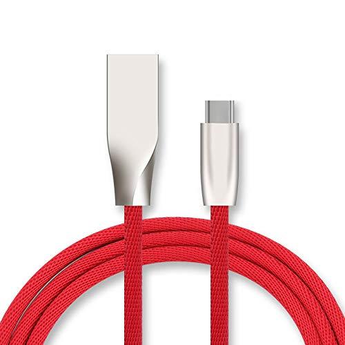 Snellaadkabel type C voor Huawei P Smart Z smartphone Android oplader 1 m USB snellaadaansluiting (rood)