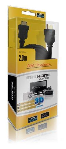ABC Sostituzione compatibile con Nikon Mini C Cavo HD HDMI per la maggior parte Coolpix Fotocamera Digitale (modelli indicati di seguito) V1.4 / High Speed con Ethernet / placcato oro / 2 Metri Lungo