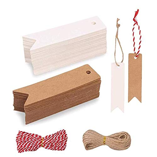 ErYao 202PCS Blank Kraft Gift Tags with Jute Twine, Kraft Paper Fishtail Tag Baking Gift Packaging Label Message Card (Multicolor)