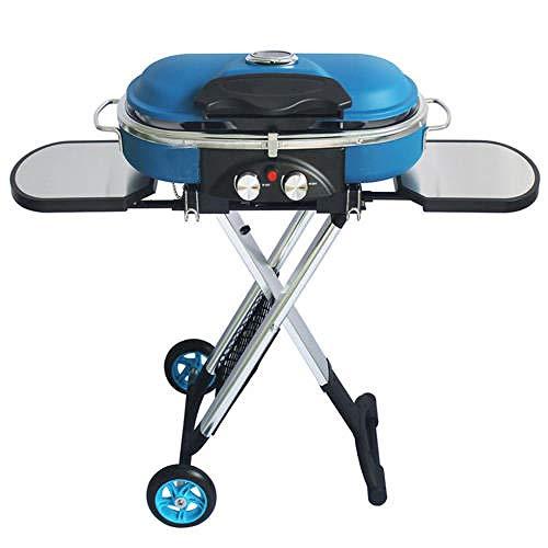 CYOYO Integrierter tragbarer Trolley-Grill im Freien Camping-Grill Grill Gasherd-BLAU