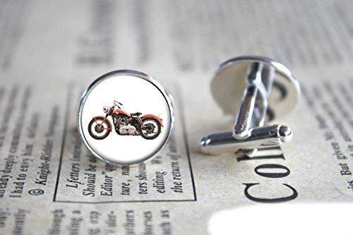 Manschettenknöpfe mit Motorrad-Fotoglas für Herren, Damen, handgefertigt, Weihnachtsgeschenk