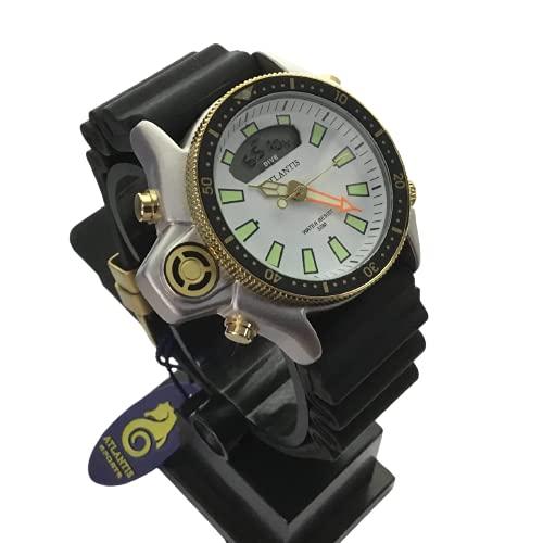 Relogio Aqualand Original Atlantis pulseira em borracha fundo (Prata/Dourado/Branco)