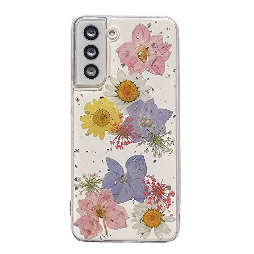 Vanxiliiy Galaxy S21 Flower Case, Slim Soft Clear TPU Pressed Dry Real Flowers Case for Samsung Galaxy S21 5G, Women Girls Floral Design for Samsung S21 Case Clear Glitter - Daisy Mix