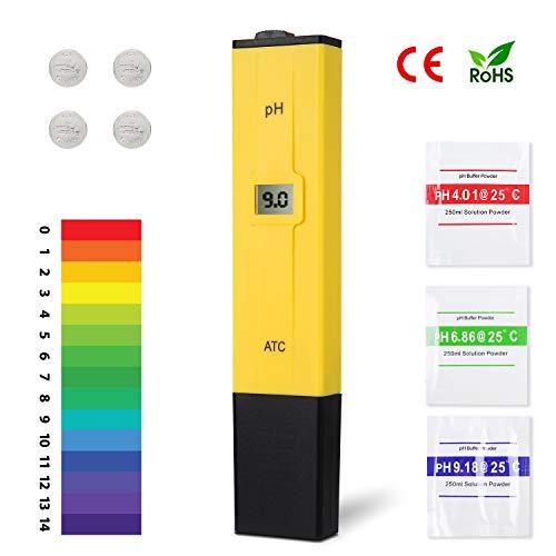 Ulikey PH Messgerät PH Wert Messgerät Digital mit LCD-Display, PH-Meter Pool ATC Wasserqualitätstest Messgerät für Trinkwasser, Lebensmittel, Schwimmbäder, Thermen, Aquarien
