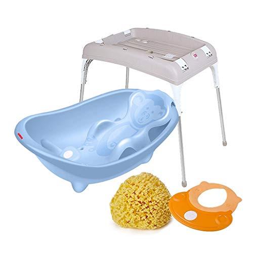 VAIY babybadje, afneembaar ligbad met draagframe, spons, douchekap