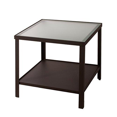 Couchtisch Vincent Metall mit Glasauflage satiniert | 80 x 80 cm | auch als Beistelltisch oder Nachttisch einsetzbar mit praktischer Ablage | modernes klares Design im Industrie - oder Loftdesign