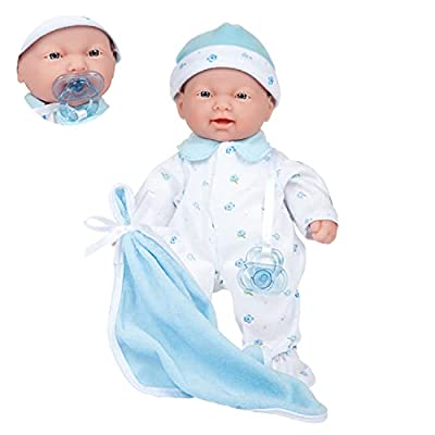 JC Toys Caucasian 11-inch Small Soft Body Baby Doll La Baby   Washable  Removable Blue Outfit w/ Hat & Blanket   for Children 12 Months + by JC Toys Group Inc.