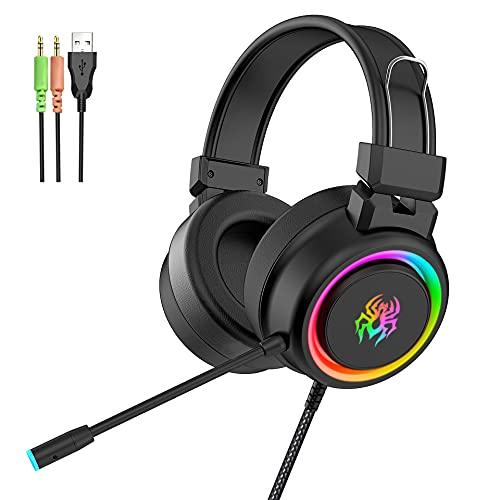 Gaming Headset, leichter, komfortabler Memory-Foam, schwenkbar auf stummes Noise-Stornierungsmikrofon, Werke auf dem PC, PS4, PS5, Xbox One, Serie X   S, Switch and Mobile