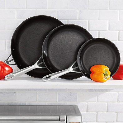 Zwilling Motion Nonstick Hard Anodized 3-Piece Fry Pan Set in Aluminum Design