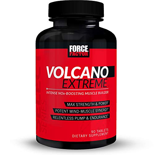 VolcaNO Extreme Pre Workout Nitric Oxide Booster Supplement for Men with Creatine, L-Citrulline, and Huperzine A for Better Muscle Pumps, Strength, Focus, Workout Performance, Force Factor, 90 Tablets