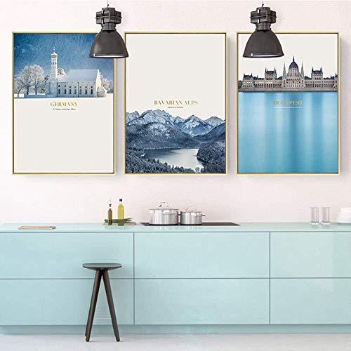 WSJTT Calefactor Tríptico de Paisaje Europeo Pintura Decorativa Marco de Fotos Dorado Pintura de Pared cálida Mural 30 * 40cm HD Micro Spray Simple Sala de Estar Moderna Sofá Hotel