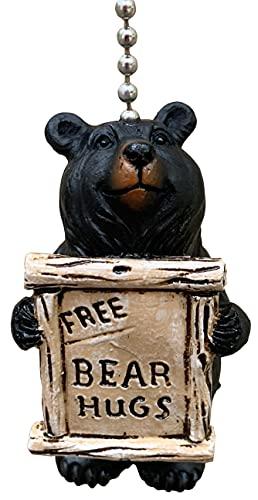 Large Rustic Free Bear Hugs Black Bear Ceiling Fan Pull Chain - Cabin Lodge Decor