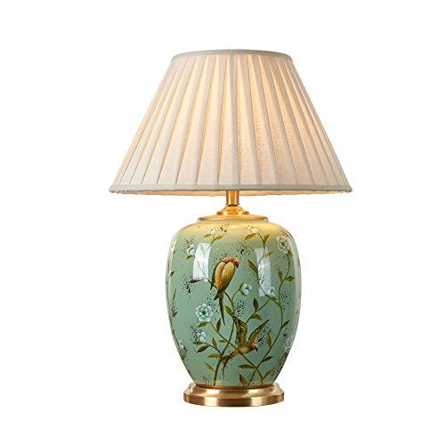 JJZXD Lámpara de cerámica de Cobre lámpara de Mesa de Estilo Americano for Sala de Estar Dormitorio lámpara de cabecera Decorada Lámparas Led
