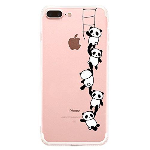 Alsoar Compatibile per iPhone 8 Plus/iPhone 7 Plus 5.5'' Custodia,TPU Cover Bello Gatto Popolari Case Anti-Scratch Gel Silicone Custodia per iPhone 8 Plus (Panda Climbing)