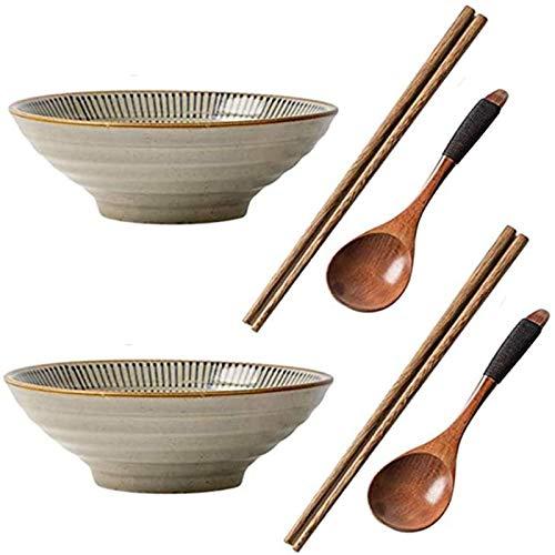 YWYW Juego de Cuencos de cerámica para Ramen de 6 Piezas, Cuencos de Fideos japoneses de 40 oz con cucharas y Palillos a Juego para Caldo Wonton Pho Udon Soba Noodles