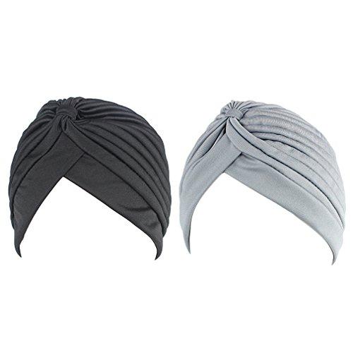 Hikong 2pcs Turbante Cappello Pieghe Chemioterapia Fascia Bandana Cappellini Indiana di Sonno Notte Dormire Berretto Beanie Donne