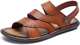 New Men Summer Outdoor Sandals Soft Shoes Beach Slippers Comfortable Casual Sneakers Leather Flip Flops Hombre (Color : Golden, Shoe Size : 39)