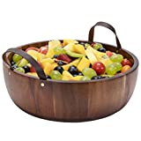 Shanik's Acacia Wooden Salad Bowl - Perfect for Serving Salads, Snacks or Fruits - 12 inches Diameters - Made from a Single Piece of Acacia Wood with Two Beautiful Leather Handles
