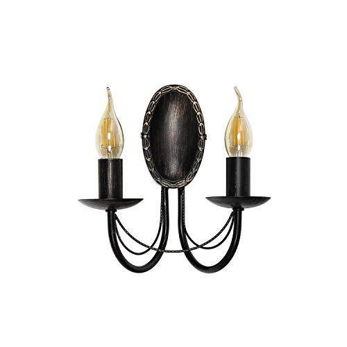 Wandleuchte antik antik-braun 2-flammig E14 bis 60W Landhaus Leuchte Wandlampe rustikal Wohnzimmer Schlafzimmer Lampen Flur Wandleuchter
