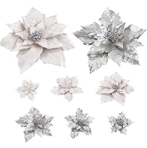 Cloris Art Christmas Flowers Poinsettia for Xmas Tree Holiday Decoration, 17 + 14 +10 Inch Artificial Poinsettia Flower Home Indoor Tabletop Vase Decor, Set of 6(White + Silver)