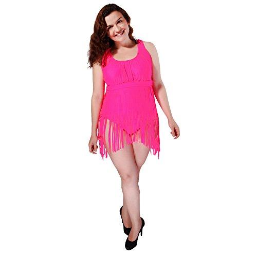 FOCLASSY Damen Push-Up-Badeanzug mit Quaste, in Übergröße, schlankes Design - Pink - 3X