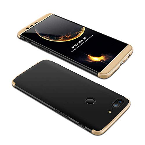 HMTECHUS OnePlus 5T Case Shockproof 2 in 1 Hard PC Plastic Material Anti-Scratch Slim Fit Bumper Full Body Coverage Protection Ultra-Thin Cover for OnePlus 5T 2 in 1 PC Black-Gold AD
