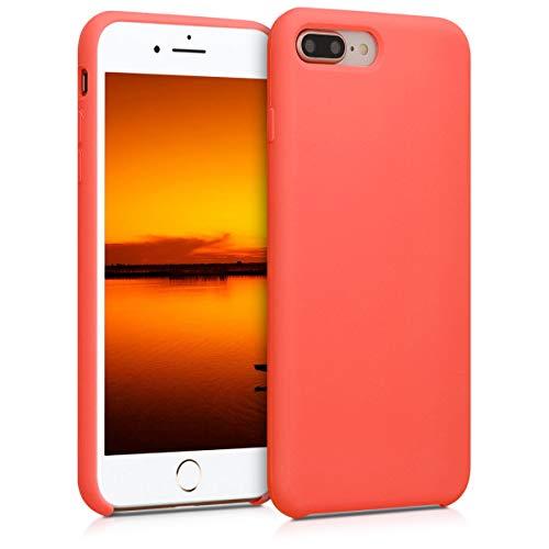 kwmobile Cover Compatibile con Apple iPhone 7 Plus / 8 Plus - Cover Custodia in Silicone TPU - Back Case Protezione Cellulare Corallo Vivo