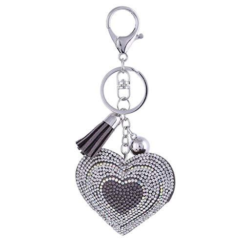 Moda corazón hecho a mano lindo Bling cristal llavero para las mujeres colgante de coche niña Rhinestone joyería bolsa llavero anillo, FT024