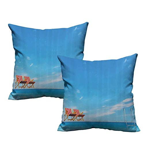 """Dasnh Two Piece Polyester Decorative Pillows Swimming Pool with Beach Chairs Armchair Sunlight Outdoors Waterscape Sunbath Image 22""""x22"""",Durable Decorative"""